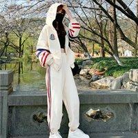 Semfri İki Adet Set Eşofman Kadınlar Sonbahar Pamuk Kapüşonlular Spor Suit Kadın Gevşek Stil Çizgili Elbise 2 Adet Set X0923