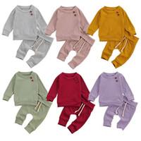 Babykleidung Sets Säuglingsgestrickte Baumwolltops Hosenanzüge Frühling Herbst Solide Mode Langarm Jungen Mädchen Outfits 2 stücke Zyy598