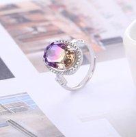 YOUE Shone Synthesis Anel de Gemstone para Mulheres Real 925 Anel de Prata Esterlina Reformável Anéis Ovais para Engajamento Jóias Fine