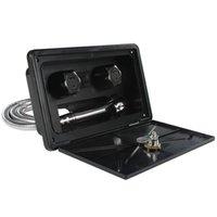 Piezas Blanco / Negro RV Caja de ducha exterior Kit con bote de bloqueo Motorhome Carthome Accesorios de caravanas