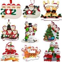 2020 Nuevo Navidad Ornamentos personalizados Survivor Cuarentena Familia 3 4 Máscara Muñeco de nieve Mano Sanitized Navidad Decoración creativa Juguetes Colgantes