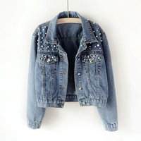 Vintage Women Jean Jackets With Pearls Beading autumn Long S...