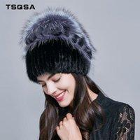 TSQSA reale protezione della pelliccia calda inverno Berretti Lady Natural Cappello nuovo delle donne moda cappelli pelliccia femminile Cappelli TAH1806