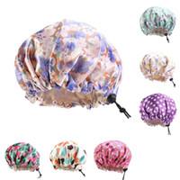 Kid Round Head Hair Care Bonnets Wrap Justering Badhatt Spänne Inbyggd sömnhattar Frukt Silk Satin Duschrum Tillbehör 5 7ba B2