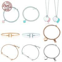2021 Braccialetto a forma di cuore Braccialetto Braccialetto 100% 925 argento sterling rosa Pendente semplice TIF Design per le donne Elegante gioielli fini 77