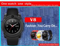V8 Smart Watch Bluetooth Uhren Android mit 0.3M Kamera MTK6261D Smartwatch für Android-Handy Mikro-SIM-TF-Karte mit Kleinpaket