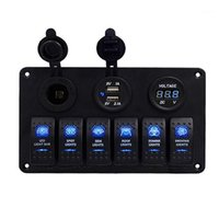 6 Gang DC 12-24 V Boat Marine Rocker Switch Panel LED Dual USB Caricabatterie da presa USB 1A2.1 A VoltMeter per auto camion camion camper GPS1