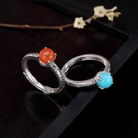 청록색 솔리드 925 스털링 실버 및 둥근 붉은 마노 자연석 반지