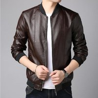 2020 Slim PU Leather Men's Jacket Brand-Clothing Autumn Winter Short Zipper Casual low collar Coat Motorcycle Male Jacket