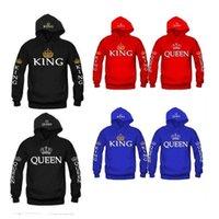OMSJ осень 3 цветов короля королева печатные толстовки женщин мужская толстовка влюбленные пары капюшонов толстовка с капюшоном повседневная пуловер 201201