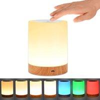 Kısılabilir 4 W RGB Sıcak Beyaz LED Gece Işıkları Dokunmatik Sensör Yanında Masa Lambası Atmosfer Işık Yatak Odası Ev Dekorasyon Için