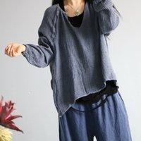Johnature Kadınlar Sonbahar Keten Vintage Düz Renk T-Shirt O-Boyun Tam Kollu Yeni Gevşek Rahat Kazak Kadın T-shirt 201028