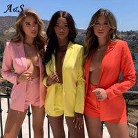 Anbenser Blazer Two-Peça Blazer Set Women Office Set 2 peças Trabalho OL Blazer e Shorts Casaco Feminino V Neck Sexy Chic Terno T200528