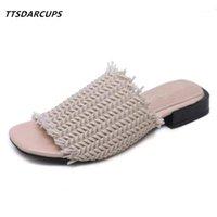 Hausschuhe Damenschuhe Europäische und amerikanische Mode Webart der flache bodener Slacker-Quadrat-Kopf-elastischer Sandalen1