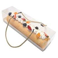10pcs Trasparente Casella del rotolo di torta con manico Cupcake Swiss Mousse Clear Plastic PET PET PET COFFIGGIO BACKING BACKING confezione regalo