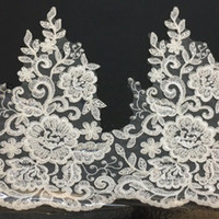 White embroidery Lace wedding dress lace trim with sequins a...