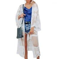 Sarongs verão sexy praia vestido swimwear mulheres oca out manga longa encobrir Cardigan Transparente Lace Bikini Robe1
