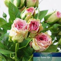 4 Têtes Fleurs artificielles longue tige décoration de mariage en soie Branches Faux fleurs en plastique rose avec des feuilles Accueil Hôtel Décor
