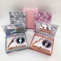 밍크 속눈썹이있는 럭셔리 미러 속눈썹 세트 케이스 족집게 핀셋 셀프 접착 아이 라이너 펜 선물 상자 개인 로고 라벨