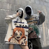 Moda Hombres Mujeres Fleece One Piece Hoodies Japón Dibujos Animados Sudaderas Flojo Hip Hop Streetwear Estilo Otoño Invierno Casual Abrigos Y201001
