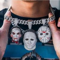 Haute qualité zircons grand masque d'horreur scie électrique la version poupée collier pendentif hip hop rap mobile Collier DJ hommes