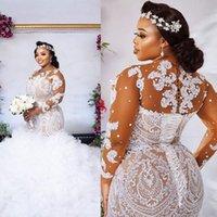 Plus Size Illusion Manga Longa Vestidos de Noiva 2021 Sexy Africano Nigeriano Jóia Pescoço Lace-up Voltar Sereia Applique Noiva Vestidos