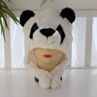 sombrero 100pcs libre del ccsme Nave estilo de la Navidad de la panda del pingüino de la felpa animal caliente del casquillo del calentador del color de la mezcla