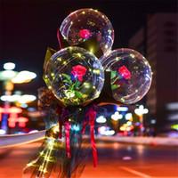 LED Aydınlık Balon Gül Buketi Şeffaf Bobo Topu Gül Sevgililer Günü Hediyesi Doğum Günü Partisi Düğün Dekorasyon Balonlar HWB3799