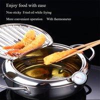 Japanischer Stil Tiefbrat-Topf-Thermometer Tempura-FRYER-Pan-Temperaturregelung gebratener Hühnertopf-Kochwerkzeuge Küchenutensilien 201223