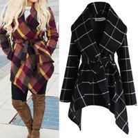 여성을위한 옷깃 목 양모 코트 패션 격자 무늬 따뜻한 재킷 코트 3 색 겨울 가을 모직 플러스 크기