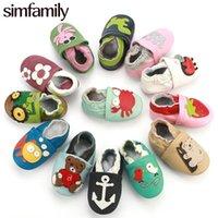 Simfamily Recém-nascido Sapatos de Bebê Menina Menina Soft Genuine Couro Sapatos Skid-Proof Solic Soled Sapatos Primeiro Walkers Sapato Fit 0-24 Mêser LJ201214