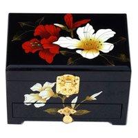 Madeira deslizante gaveta Box Pull jóias com bloqueio Coleção decorativa caso chinês Lacquerware Jóias Caixa de armazenamento presente de casamento aniversário