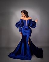 2020 Арабский Асо Ebi Royal Blue Русалка Вечерние платья с длинными рукавами бисером Пром платья тафта Формальное партия Второй прием мантий ZJ884