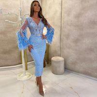 2021 NOUVEAU Sexy Sky Blue Cocktail Robes de dentelle à col V Couleur à manches longues manches courtes Célébrités Celebrity Fête Balcoming Homecoming Robes