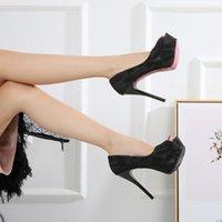 الأزياء 2020 الساخن المرأة منصة مضخات عارية شبكة سوداء شبكة مثير زقزقة اصبع القدم stilleto 12 سنتيمتر عالية الكعب الأحمر أسفل امرأة الأحذية 1