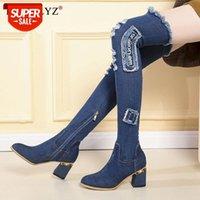 Damen Denim Stiefel über dem Knie spitz dicke High Heels Schuhe Frau Casual Quaste ausschneiden Jeans Lange Botas Mujer # OU2T