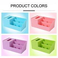 Estantes de escritorio multifuncionales Estantes Caja de almacenamiento Durable Plastic Maquillaje Caja de almacenamiento Organizador Tisso Pequeño artículo Caso 1