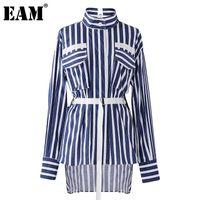 Женские блузки Рубашки [EAM] Женщины вертикальные полосатые нерегулярные повязки блузка отвороты с длинным рукавом свободная подходит рубашка мода весна осень 2021