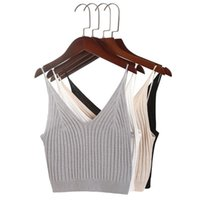 Women Sexy Knitted Crop Top Crop Sleeveless Cropped Vest Slim Sling Knitted Tank Top V-neck Plain Camisole High Elastic Camis