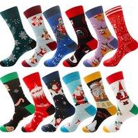 Noel Sıcak Kadın Erkek Çorap Penye Pamuk Karikatür Çorap Sonbahar Kış Rahat Uzun Yetişkin Sıkıştırma Sock11