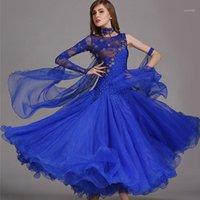 ÉTABLES PORTÉRES Robes de danse de la salle de bal Femmes Standard Standard Dancing Vêtements Robe de compétition Waltz Foxtrot Sequins Blue1