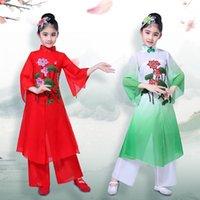무대 착용 어린이 한후 클래식 댄스 양코 Guzheng 의상 팬 중국어 스타일 어린이 국가 의상 1