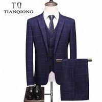 Brand Homme costume Mode de mariage Costumes à carreaux pour hommes Costume Homme Luxe Slim Fit Bleu 3 Pièces Formelle Formelle Homme # AQ1X