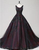 2021 Vestidos de casamento gótico preto e vermelho vestido de baile Scoop frisado laço tule espartilho volta princesa non branco vestidos de noiva feito sob encomenda