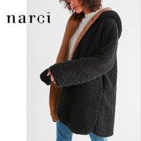 Narci Womens черный поддельный мех двухсторонний длинный пальто теплая негабаритная куртка мягкий нечеткий плюшевый медвежонок пальто с капюшоном для зимой Spring1