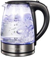 Elektrikli su ısıtıcılar Queense su ısıtıcısı cam su ısıtıcısı, mavi led aydınlatma ile 1.7 l maker, 2200 w hızlı ısıtma otomatik kapanma