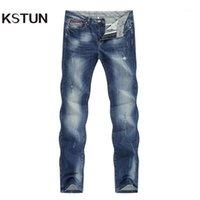 남자 청바지 패션 찢어진 남자 스트레칭 블루 streetwear 고민 된 힙합 망 정기 맞는 남성 긴 바지 바지 큰 크기 401