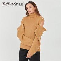 Twightwinstyle Patchwork coreano scava fuori maglione per le donne TurtrleNECK manica lunga pullover a maglia femminile 2020 caduta moda nuovo LJ201114