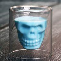 Creative Bar Party Webware Skull Transparent Wine Cup Skull Glass Shot Cerveza Vidrio Whiskey Glasses Crystal Skeleton Water Cup EEF4011