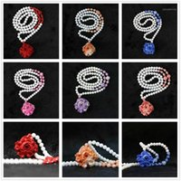 """HOT!! white shell 6mm round beads with 24x37mm colorful flower pendant women jewelry handmade nacklace Free shipping 28"""" B9681"""